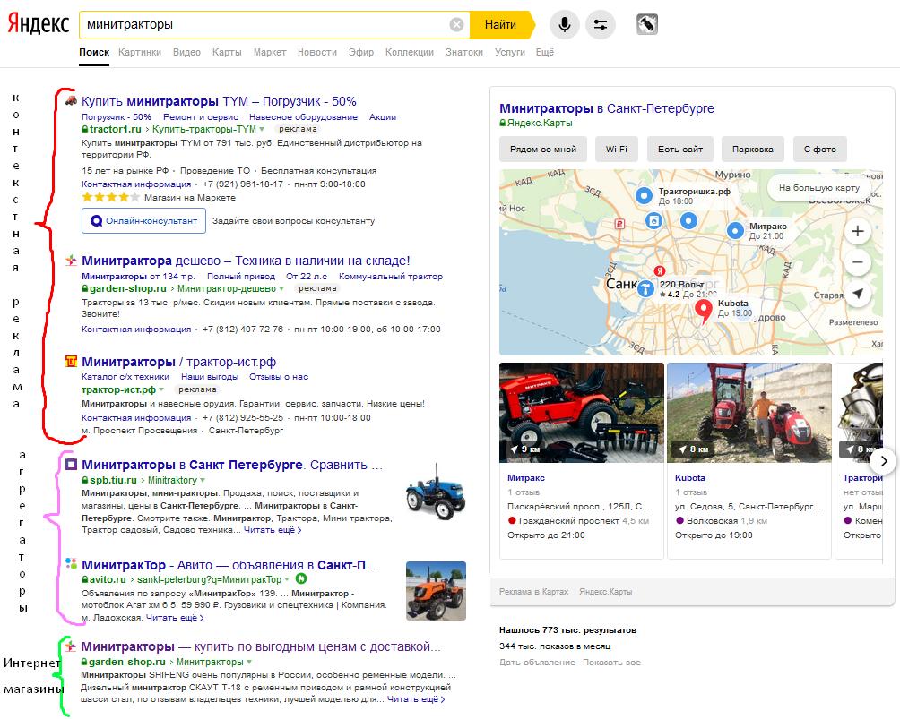 пример выдачи Яндекса по запросу минитрактор